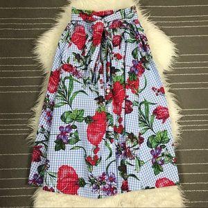 NEW Zara gingham floral midi skirt